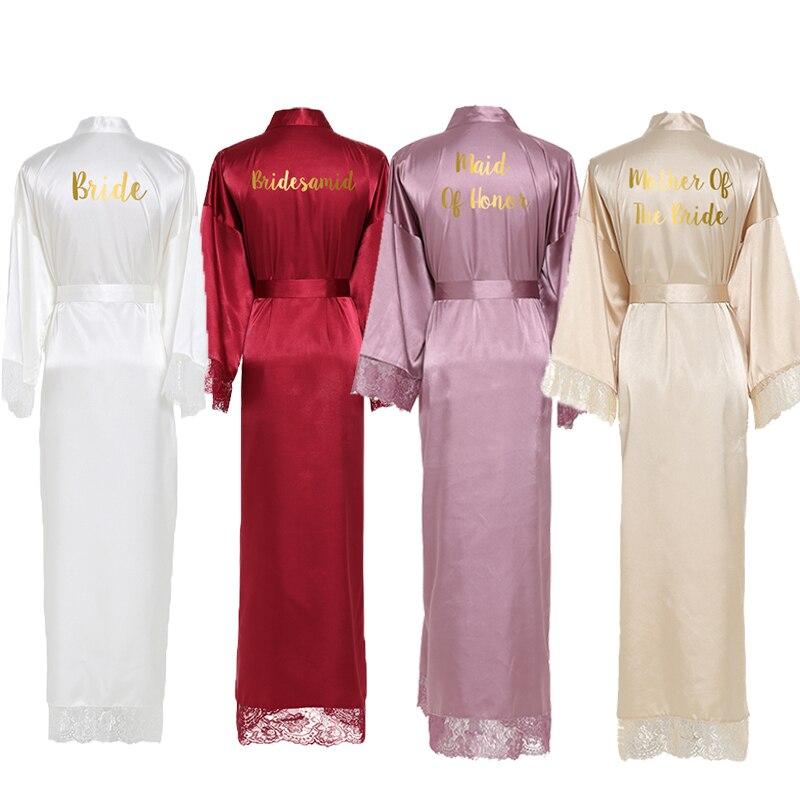YUXINBRIDAL 2019 New  Silk  Satin Lace Robes White Bridesmaid Bride Robes  Bridesmaid Robes Wedding  Long Robe  Bathrobe