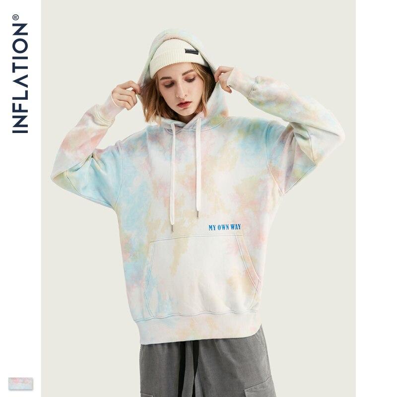 INFLATION Men Tie Dye Hoodie Streetwear 2020 FW High Street Oversized Hip Hop Hoodie For Men Women Loose 100% Cotton Hoodie 9652