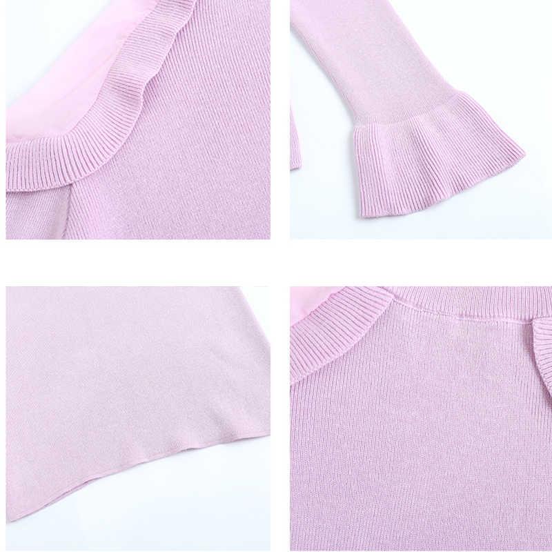 Koreaanse Herfst Flare Mouw Off Shoulder Vrouwen Trui 2019 Slim Fit Coltrui Nieuwe Mode Vrouwen Truien Trek Femme 6387 95