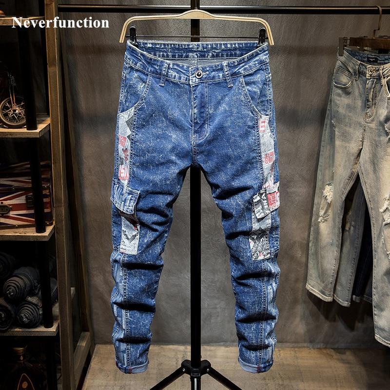 Men Hip Hop Graffiti printed patchwork Slim fit Biker Jeans Streetwear man Cotton Multi-pocket Casual Cargo denim pants