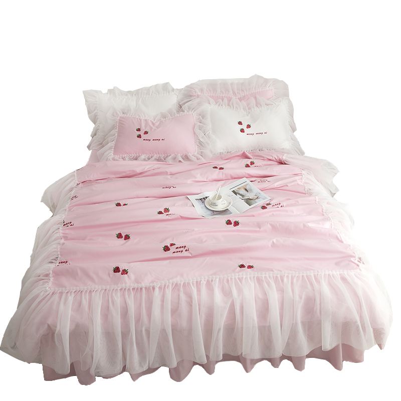 Free Shipping Princess Lace Ruffles Strawberry Embroidered Bedding Set 3/4pcs Twin Full Queen King Size Bed Skirt Set MR