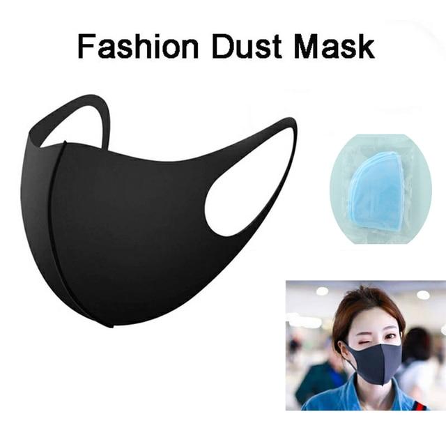 6/3/1pcs Cotton Anti-dust Mask Flu Face Mask Unisex PM2.5 Washable Reusable Anti Haze Mouth Mask breathable Warm Mask Black Mask 1