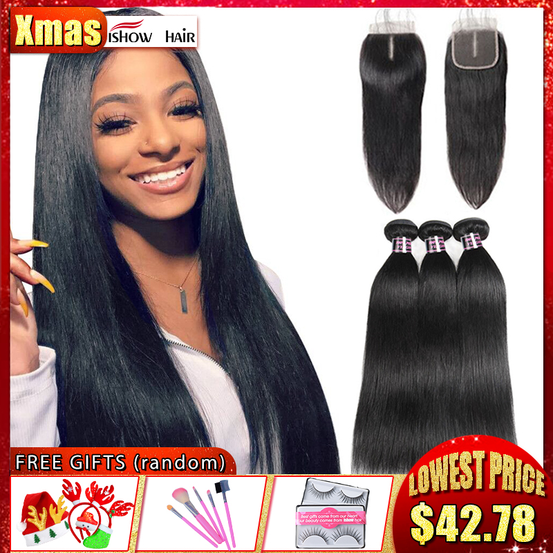 Ishow Straight Hair Bundles With Closure Brazilian Hair Weave Bundles With Closure 100% Human Hair Bundles With Closure Non Remy