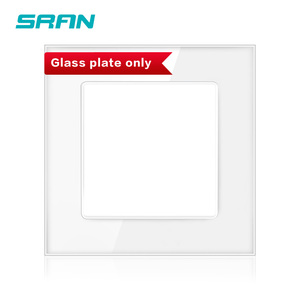 SRAN Blank panel with Installing iron plate 86mm*86mm white crystal tempered glass switch socket panel