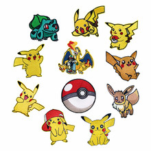 Hot Sale New Cartoon Patches Pocket Pokeball Pikachu Movie Patch Iron on for Clothing Child Clothes Diy Ironing Stickers