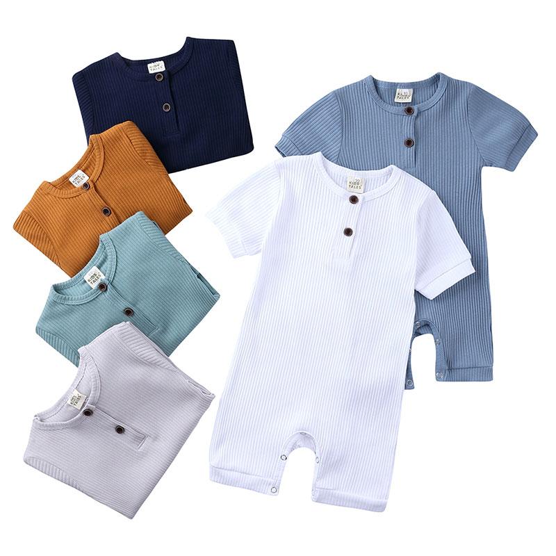 Yaz yenidoğan bebek Romper düz renk bebek giysileri kız tulum pamuk kısa kollu o-boyun bebek erkek Romper 0-24 ay