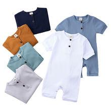 Pelele para bebé recién nacido, ropa de Color sólido, peleles de algodón de manga corta con cuello redondo, pelele para niño de 0 a 24 meses