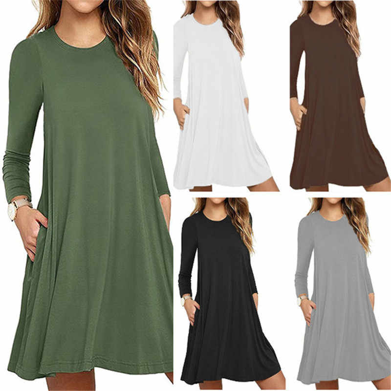 Grande taille décontracté mince femmes Robe mode solide poches col rond à manches longues printemps Robe Polyester a-ligne plage Vestidos Robe XXL