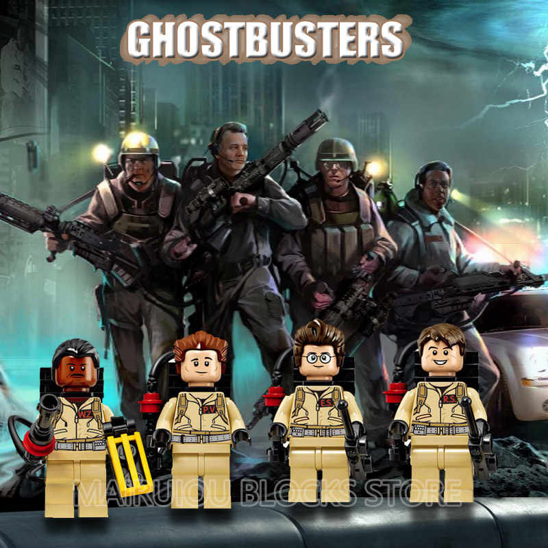 4Pcs/Lot Movie Series Ghostbusters Figures Barney Lee Christmas Yin Yang Jensen Billy Weapon Building Blocks Action Figure Toys