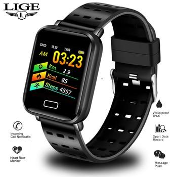 LIGE 2019 New Smart Bracelet Men Color Screen Blood Pressure Heart Rate Monitor Wristband Sport Fitness Tracker Smart Wristband