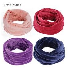 Новинка, высокое качество, зимний бархатный тканевый шарф-кольцо, женские теплые шарфы для шеи, мягкие, удобные, модные, одноцветные