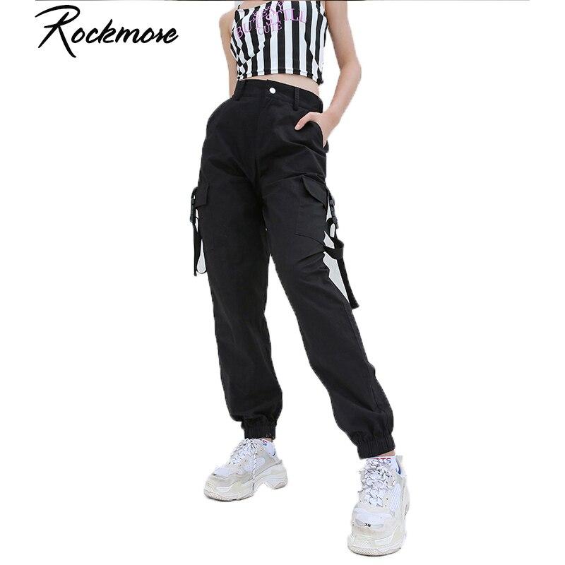 Rockmore Solid Black Cargo Pants Women High Waist Pants Pockets Cotton Full Length Streetwear Belt Winter Trousers Harajuku 2018