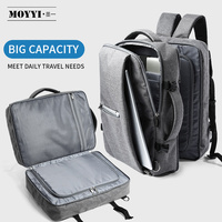 MOYYI Business Travel Double Compartment Backpacks Multi Layer with Unique Digital Bag for 15.6 inch Laptop Mens Backpack Bags