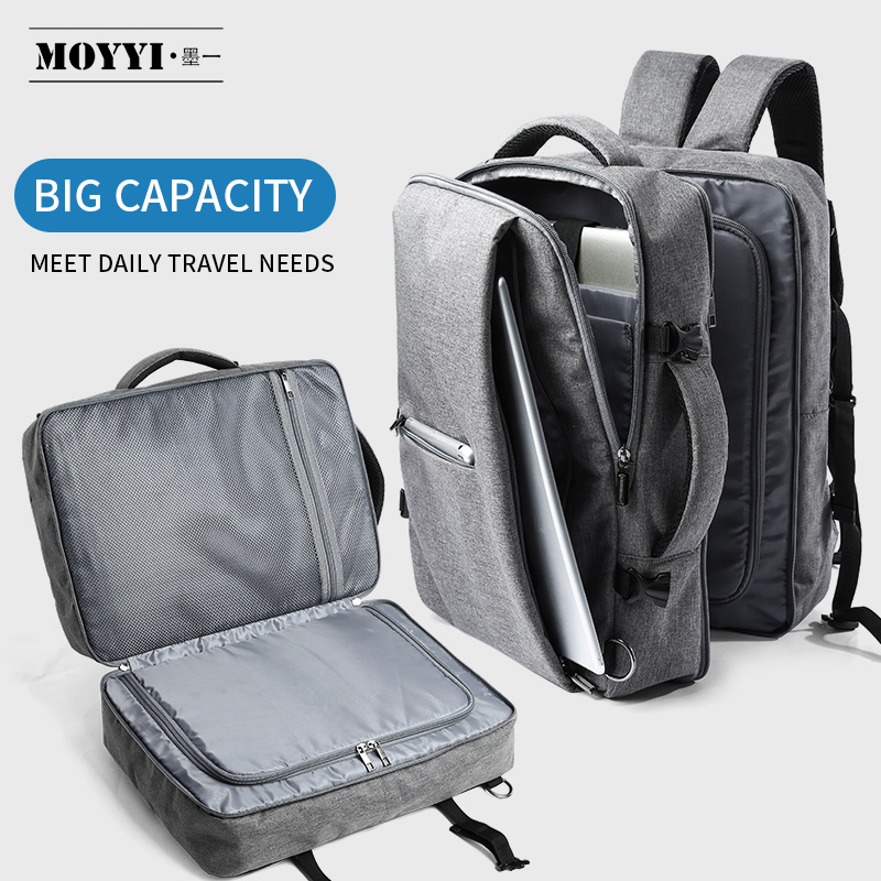 MOYYI Business Travel Double Compartment Backpacks Multi-Layer with Unique Digital Bag for 15.6 inch Laptop Mens Backpack Bags image