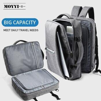 MOYYI, mochilas de viaje de negocios de doble compartimento, multicapa con bolsa Digital única para portátiles de 15,6 pulgadas, mochilas para hombres