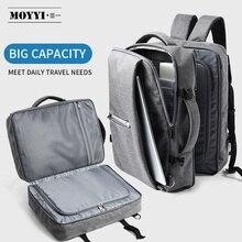 MOYYI الأعمال السفر مزدوجة المقصورة حقائب الظهر متعددة الطبقات مع حقيبة رقمية فريدة من نوعها ل 15.6 بوصة محمول حقيبة ظهر رجالية حقائب
