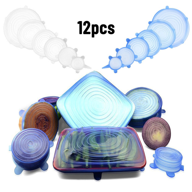 12pcs Silicone Stretch Lids Reusable Airtight Food Wrap Covers Keep Fresh Sealing Bowl Elastic Wrap Cover Kitchen Cookware|Fresh-keeping Lids| |  -