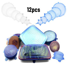 12pcs Silicone Stretch Lids Reusable Airtight Food Wrap Covers Keep Fresh Sealing Bowl Elastic Wrap Cover Kitchen Cookware