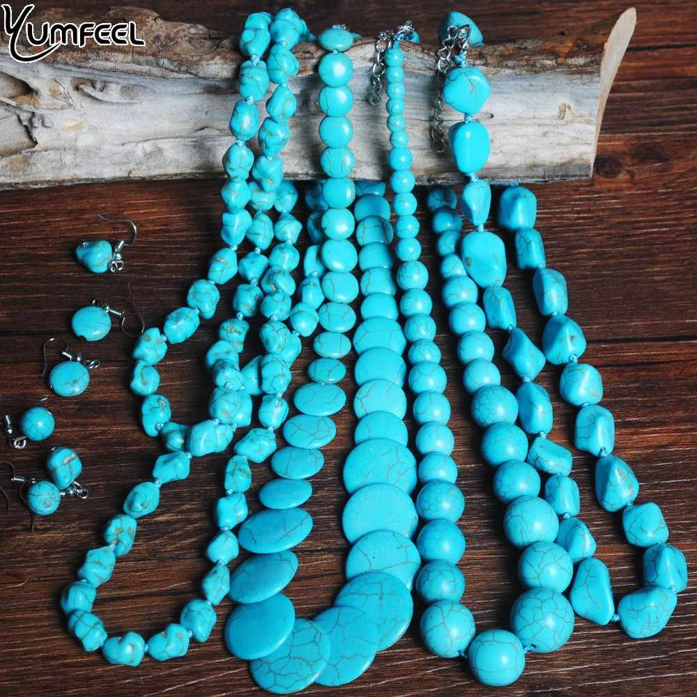 Yumfeel Brand Blue Stone Jewelry Set Handmade Graduate Nugget Drop Disc Round Necklace Earring Sets Women Gifts