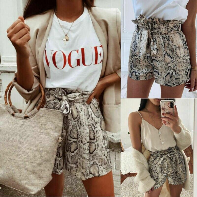 Женские летние шорты со змеиным узором, стильные свободные пляжные шорты с высокой талией, короткие брюки, 2020