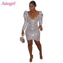 Adogirl Women Fashion Sexy Sequins Dress Deep V Neck Long Puff Sleeve Ruched Bodycon Mini Night Club Party Dresses Vestidos