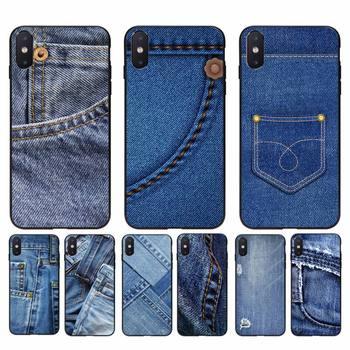 Yinuoda Jeans Style Blue Denim Black TPU Soft Phone Case for iphone 11 Pro Max X XS MAX 6 6s 7 8 plus 5 5S 5SE XR SE2020