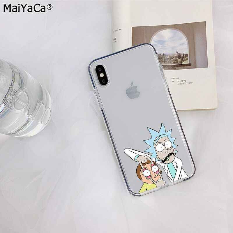 MaiYaCa Rick And Morty Funny Cartoon Transparent Phone Cover for Apple iphone 11 pro 8 7 66S Plus X XS MAX 5S SE XR cover