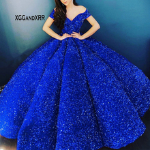 Quinceanera-Dress Ball-Gown Corset Sequin Puffy Royal-Blue Off-Shoulder Luxury Sparkly