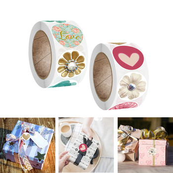 500pcs/roll Flower Stickers Rolls For Love Oh Baby Cute Stickers Labels For Wedding Party Scrapbooking Envelopes Seal Stickers image