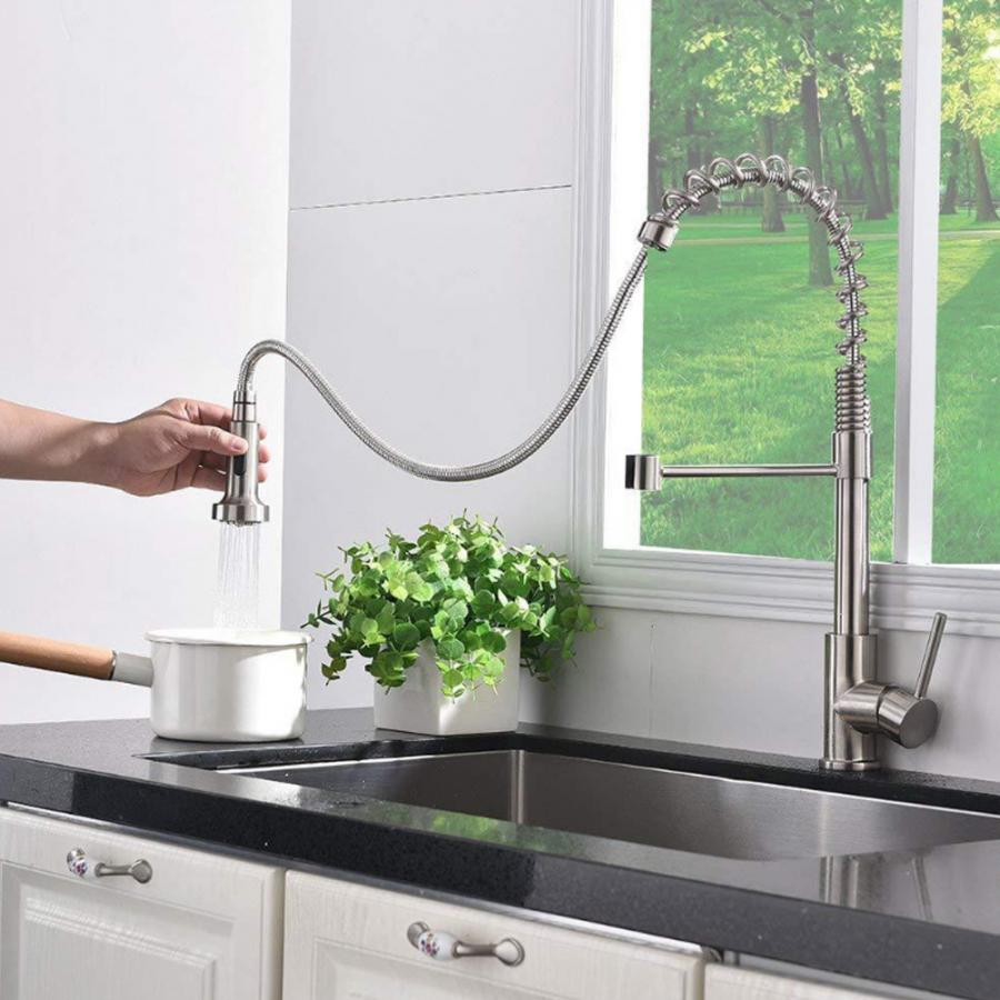 360 Degrees Rotation Cold Hot Water Faucet 2 Functions Pull Out