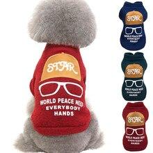 Свитер для домашних животных с очками, осенняя и зимняя модная теплая одежда для кошек, собак, чихуахуа, осенний зимний свитер для сохранения тепла