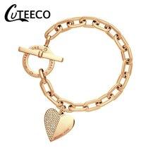 HOMOD Fashion Link Chain Polishing Crystal Gold Color Wrist Bracelet Trendy Heart Metal Cuff