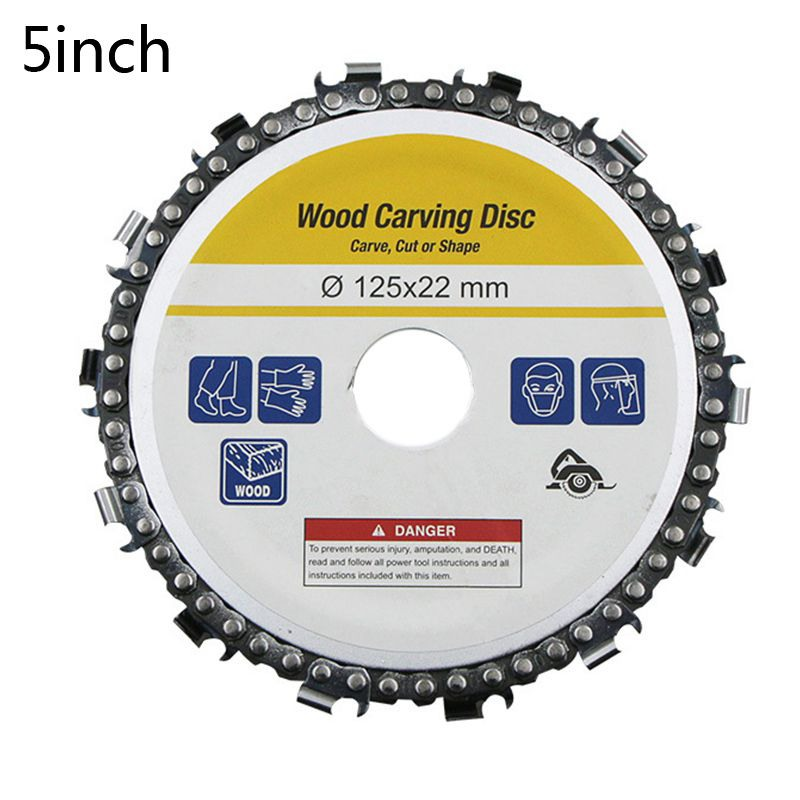 1PC 4/5 Inches Wood Carving Disc Saw Blade Disc Fine Abrasive Cutting Chain Grinder Chain For 125x 22mm Angle Grinder