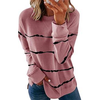 Women Hooded New Womens Tie-Dye Printed Striped Fashion Round Neck Loose Long-Sleeved Sweatshirt 2020