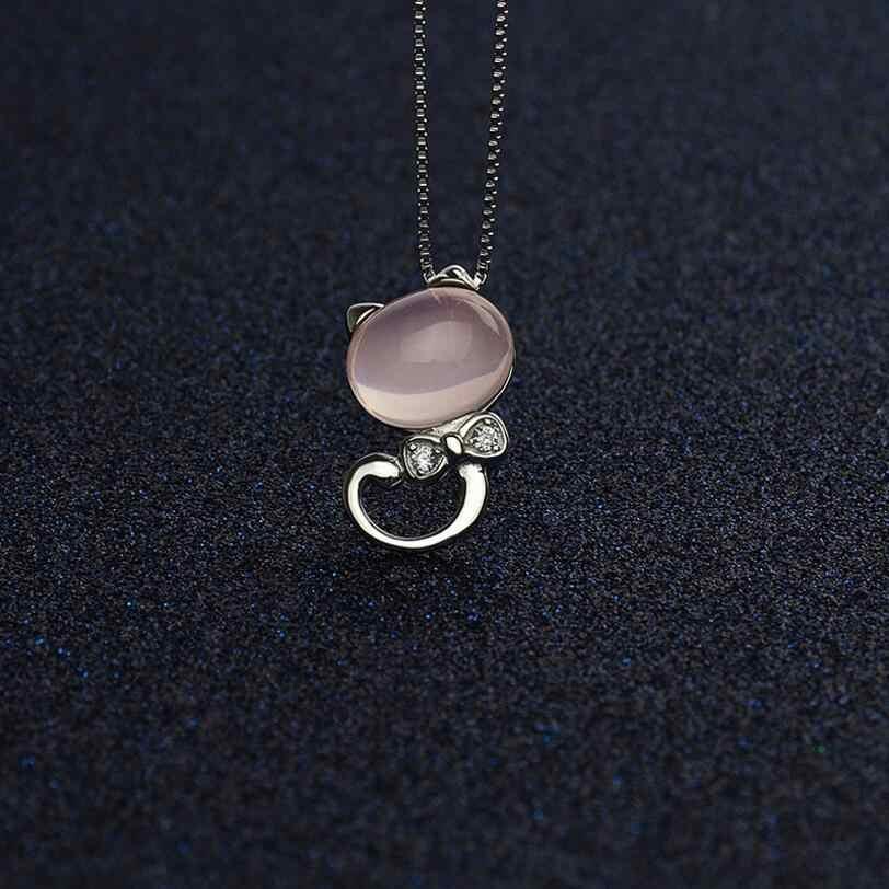 925 スターリングシルバーピンクムーンライト石猫女性のギフト 45 センチメートルリンクチェーン collares kolye S-N75
