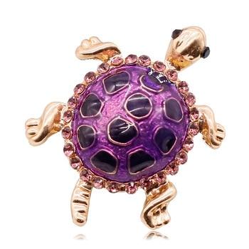 30pcs/lot Purple rhinestone colorful Sea Turtle Tortoise Shell Brooch Pin animal brooch