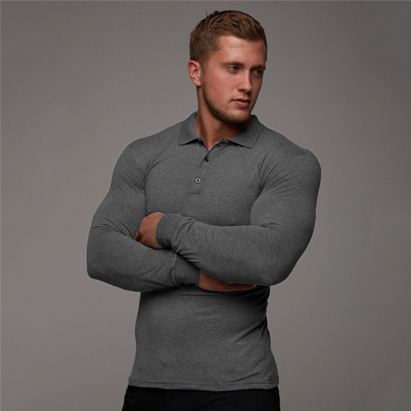 New Brand Polo Shirt Mens Casual Fashion Breathable Cotton Polo Shirt Men Business Long Sleeve High Quality Poloshirt Men
