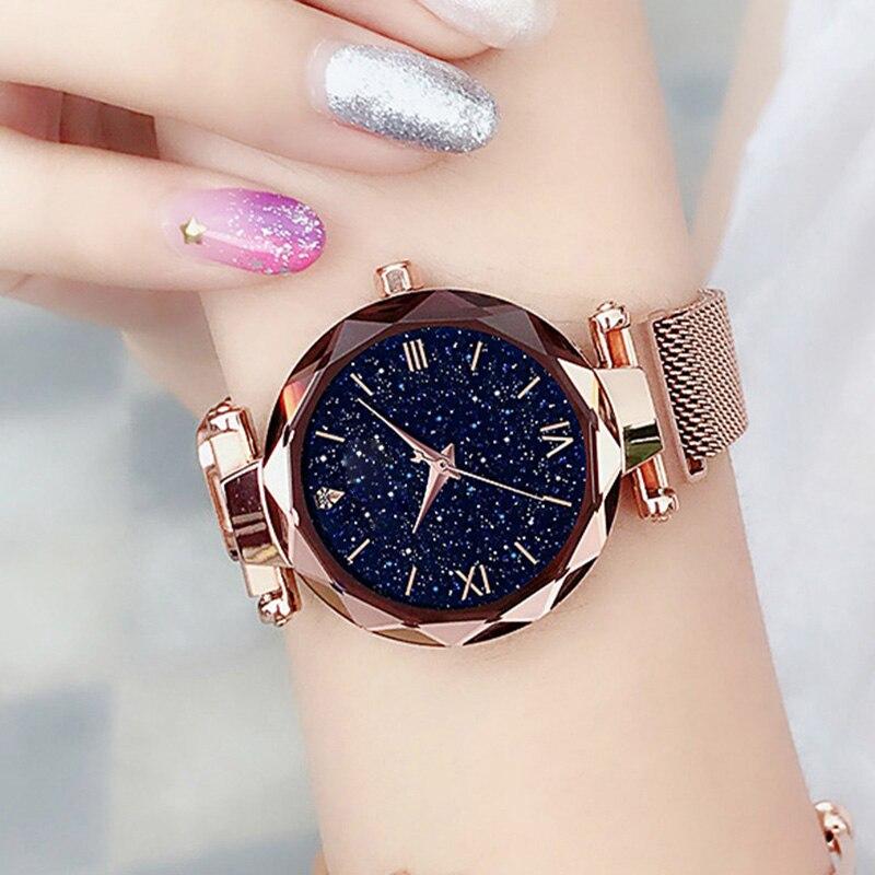 Luxe lumineux femmes montres ciel étoilé magnétique femme montre-bracelet étanche strass horloge relogio feminino montre femme