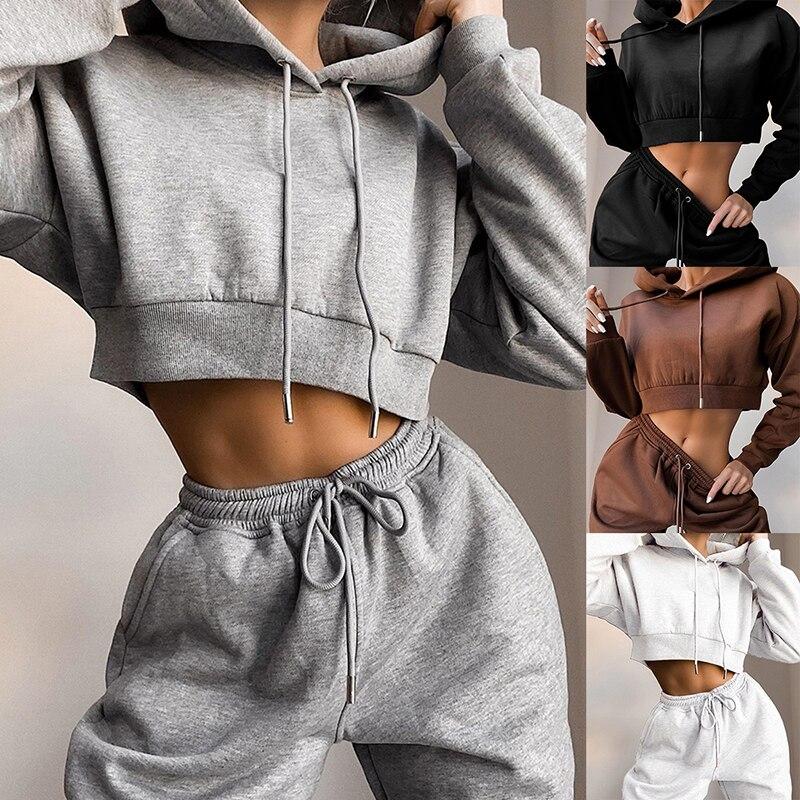 Повседневный комплект из двух предметов, толстовка с капюшоном, однотонные короткие топы и длинные штаны, свободный комплект из 2 предметов, женский модный сексуальный спортивный костюм