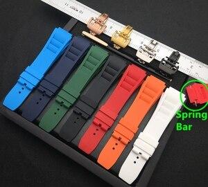 Image 1 - 25mm רך טבע סיליקון גומי רצועת השעון עבור ריצ רד שעון Mille רצועת להקת צמיד כתום כחול לבן אדום האביב בר סדרה