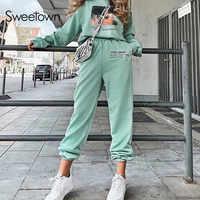 Sweetown-pantalones bombachos para correr para mujer, pantalón informal, de cintura alta, con bolsillos, estilo Hip Hop, color negro