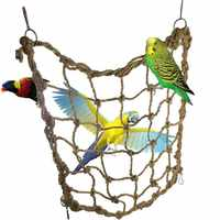 New Parrot Bird Cage Toy Hemp Rope Net Game Hanging Rope Climbing Net with Buckles Swing Ladder Parakeet Budgie Macaw Play Toys
