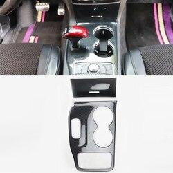 Para jeep grand cherokee 2014-2015 movimentação da mão esquerda 2 pçs de fibra de carbono abs botão do deslocamento de engrenagem do carro adesivo painel capa guarnição estilo do carro
