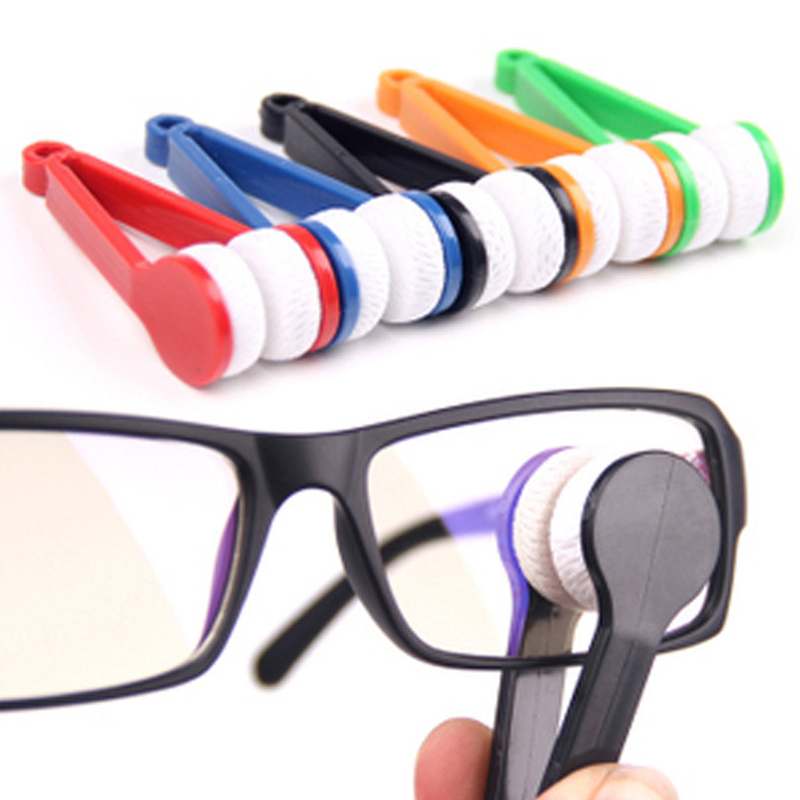 10 Pieces Microfiber Glasses Cleaning Cloth Mini Glasses Eyeglass Sunglasses Spectacles Microfiber Cleaner Brush