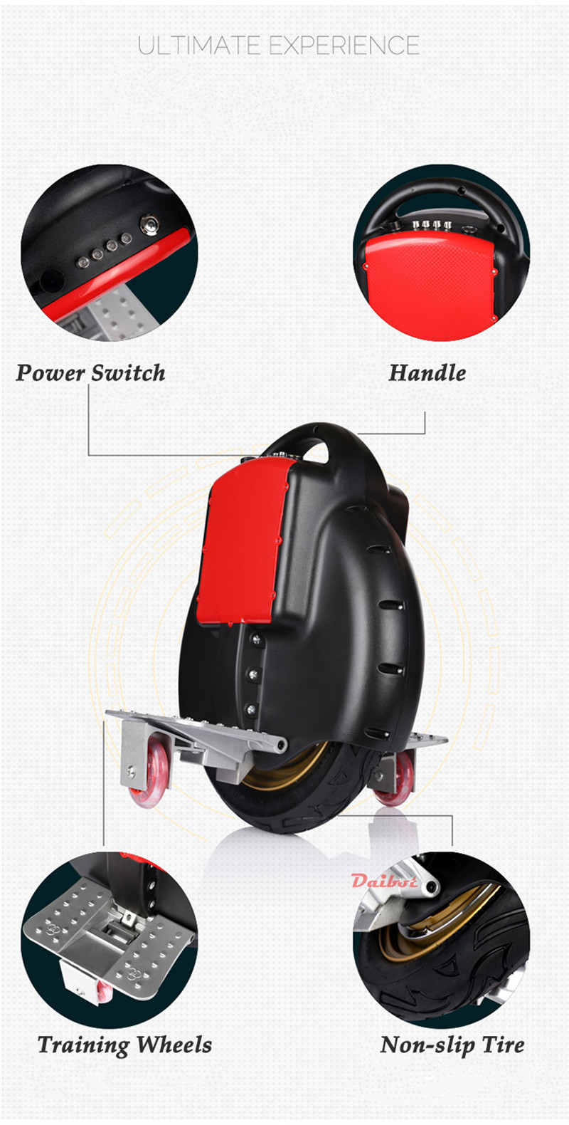Daibot Monowheel Hoverboard One Wheel Self Balancing Scooters 14inch 350W 60V Portable Electric Unicycle One With Training Wheel (1)