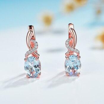 Kuololit 585 Rose Gold Topaz Gemstone Luxury Clip Earrings for Women Genuine 925 Sterling Silver Emerald London Blue Morganite