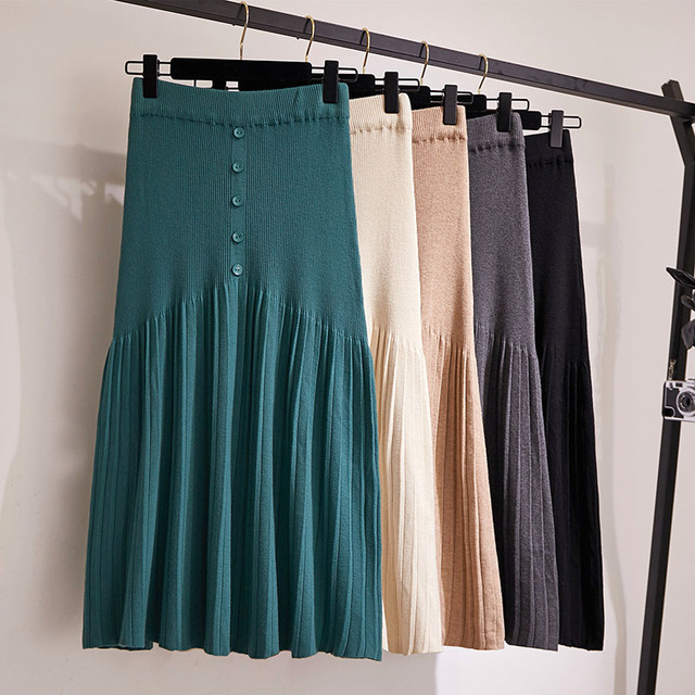 Winter Autumn 2019 Skirts Womens Knitting Wool Pleated Long Skirt Buttons High Waist Elastic Large Hem Saia Midi Skirts 1