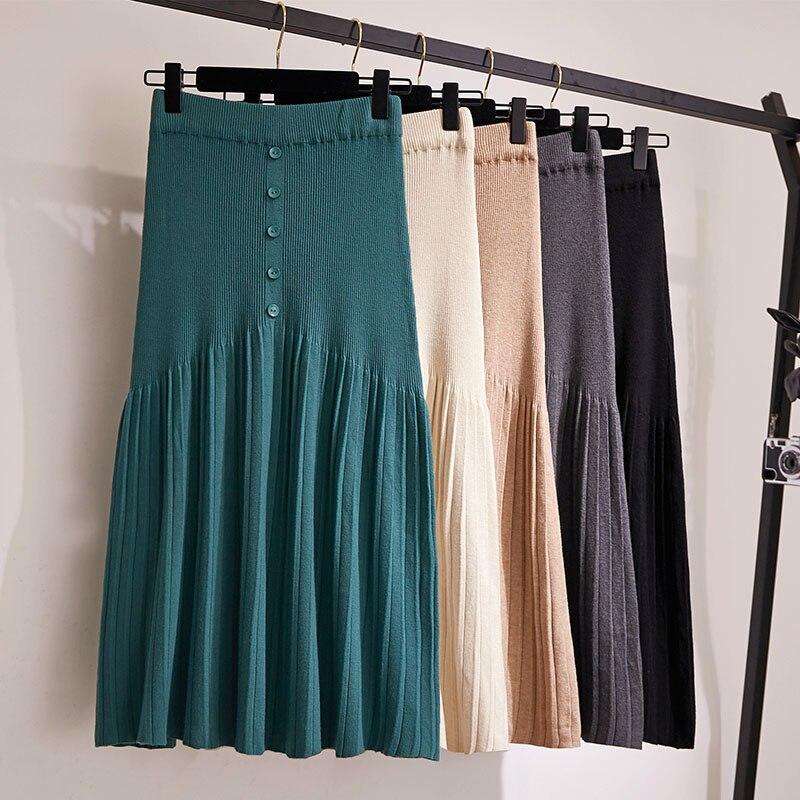 Outono inverno 2019 Saias Das Mulheres de Tricô de Lã Saia Longa Plissada Botões Alta Cintura Elástica Grande Hem Saia Midi Saias