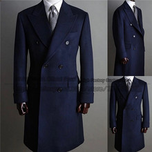 Winter Navy Blue Woolen Mens Long Coat Jacket Groom Double Breasted Wedding Tailored Party Prom Business Blazer Only One Piece
