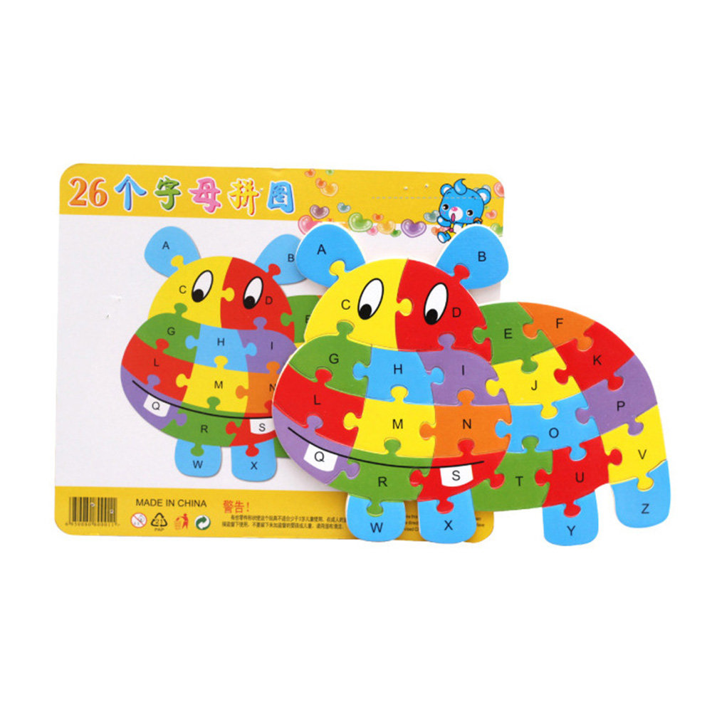 Kids Wooden Animal ABC Alphabet Learning Puzzles Jigsaw Intelligence Games Toys for Children Puzzle Game Gift